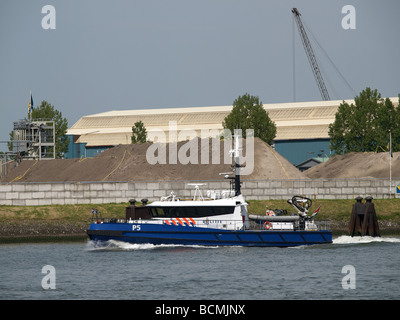 Dutch harbour police patrol boat p5 in the port of Rotterdam Zuid Holland the Netherlands - Stock Photo