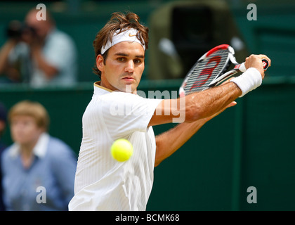 Wimbledon Championships 2009,Roger Federer SUI in action - Stock Photo
