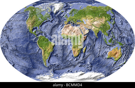 World map, shaded relief with shaded ocean floor. - Stock Photo