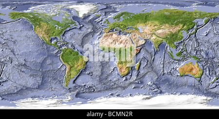 World map, shaded relief with shaded ocean floor - Stock Photo