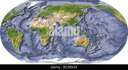 World map, shaded relief,with shaded ocean floor, centered on India - Stock Photo