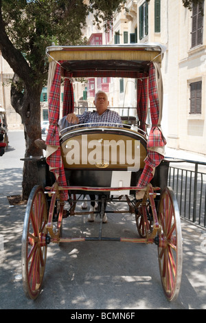 Horse and cart driver resting in his cart, Valletta, Malta - Stock Photo