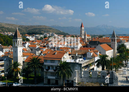 Aerial view of Trogir on Dalmatian Coast of Croatia - Stock Photo