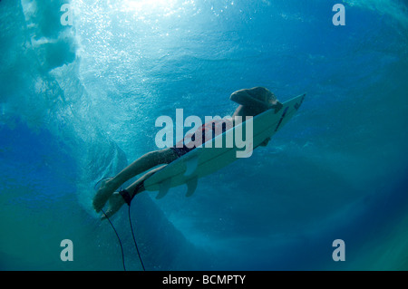 Surfer duck diving under wave - Stock Photo