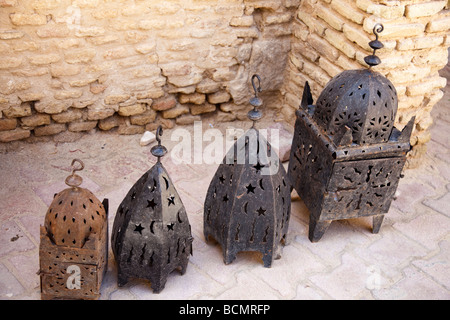 A shop in Tozeur, Tunisia's 14th century Ouled El Hadef quarter sells lanterns. - Stock Photo