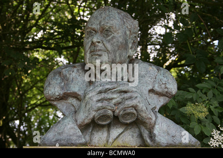 Bust Of Sir Peter Scott At Martin Mere WWT, Lancashire, UK - Stock Photo