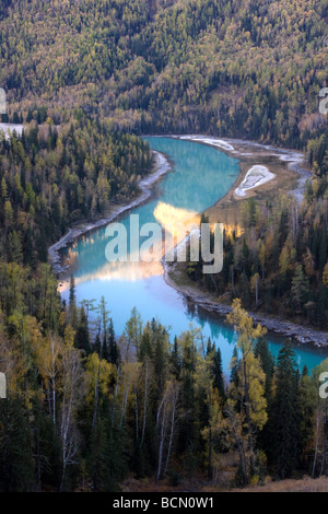 Blue Kanas Lake, Kanas Conservation, Xinjiang Uyghur Autonomous Region, China - Stock Photo