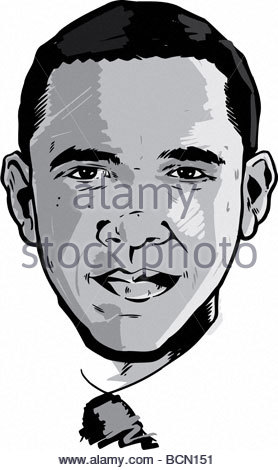 Barack Obama portrait black and white Version Part of the G20 Collection - Stock Photo