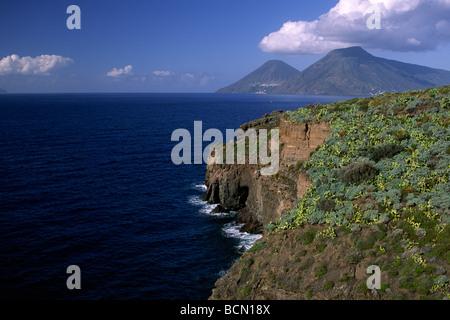 italy, sicily, aeolian islands, lipari and salina in the background - Stock Photo