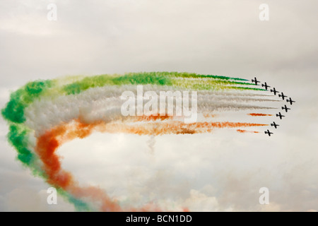 'Frecce Tricolori' [Italian Air Force] Aerobatic Team formation flying trailing smoke, [RAF Fairford], Gloucestershire, - Stock Photo
