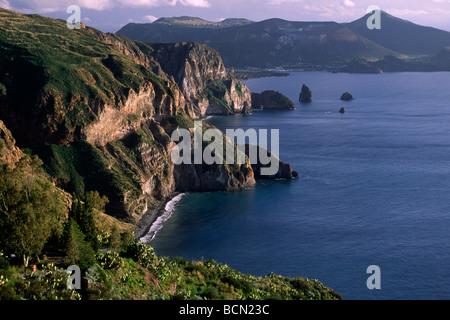 italy, sicily, aeolian islands, lipari island and vulcano in the background - Stock Photo