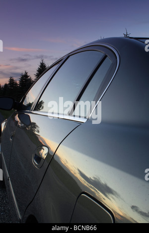 Summer Sunset Reflected in Side of Car Ontario Canada North America - Stock Photo
