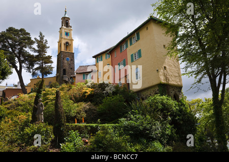 Portmeirion - unique Italianate village created by architect Clough Williams-Ellis in North Wales - Stock Photo