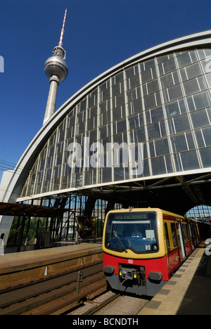 Berlin Germany Alexanderplatz railway station the Fernsehturm TV tower - Stock Photo