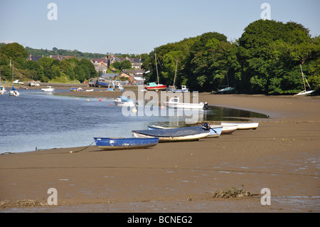 Moorings on River Teifi, St Dogmaels, Cardigan, West Wales - Stock Photo