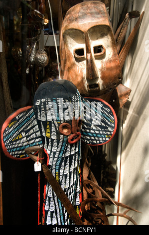 Marche aux Puces de Saint Ouen flea market Paris african mask - Stock Photo