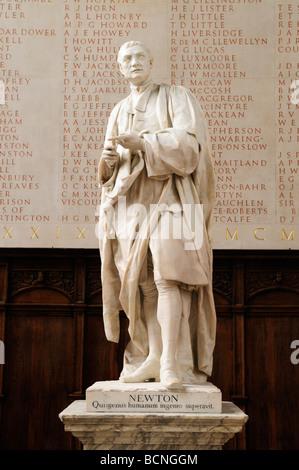 Statue of Sir Isaac Newton in the antechapel of Trinity College Chapel, Cambridge England UK - Stock Photo