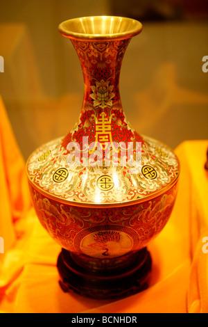Cloisonné vase, Beijing, China - Stock Photo