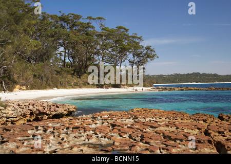 Rock Platform and Beach at Bristol Point near Green Patch Beach Booderee National Park Jervis Bay Territory Australia - Stock Photo