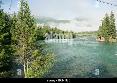 Wide river and forest, Kanas Conservation, Xingjiang Uyghur Autonomous Region, China - Stock Photo