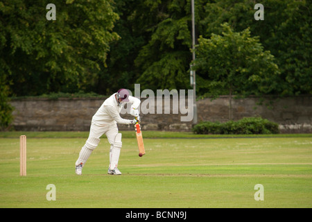 Cricket match in Scotland on a summer evening Kelso Scottish Borders - Stock Photo