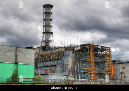 Nuclear reactor in Chernobyl. Chernobyl sarcophagus. - Stock Photo