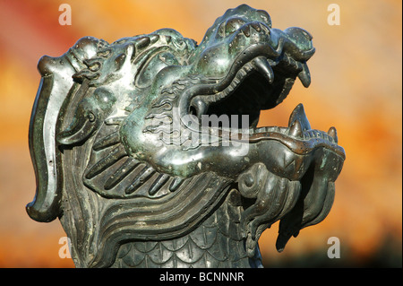 Detail of a bronze turtle sculpture's head in front of Hall of Supreme Harmony, Forbidden Palace, Beijing, China - Stock Photo