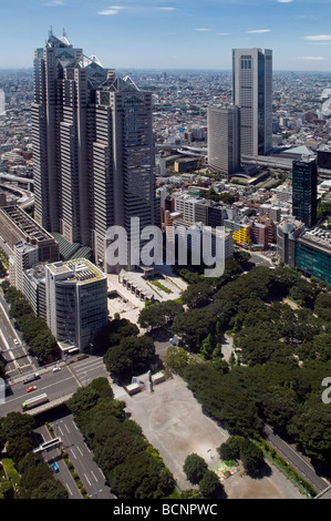 Aerial view of Nishi Shinjuku Skyscrapers from Tokyo Metropolitan Government observatory in Shinjuku district Tokyo - Stock Photo