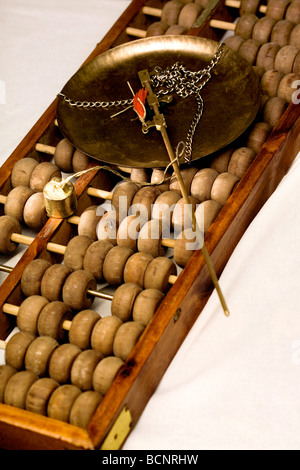 Weight scale placed on Chinese traditional calculator abacus - Stock Photo