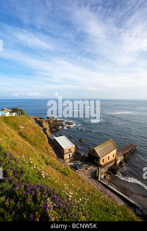 Lizard Point with Lifeboat Station and most southerly cafe in summer sunshine Cornwall England UK United Kingdom - Stock Photo