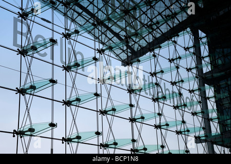 Detail of glass curtain wall at Berlin Hauptbahnhof or central railway station - Stock Photo