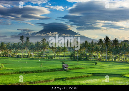 a dramatic sky over the volcanic peak of Gunung Agung and the rice fields, near Ubud, Bali, Indonesia - Stock Photo