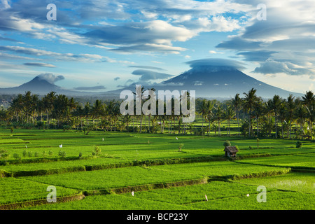 storm clouds clearing over the volcanic peak of Gunnung Anung and the rice fields, near Ubud at dawn, Bali, Indonesia - Stock Photo