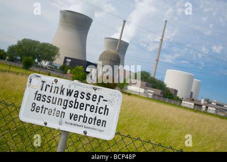 Gundremmingen nuclear power plant, Bavaria, Germany. Sign declares: Potable water well area. Kernkraftwerk Gundremmingen. - Stock Photo