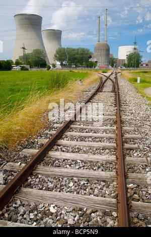 Railway track to the Gundremmingen nuclear power plant in Bavaria, Germany. Kernkraftwerk Gundremmingen. - Stock Photo
