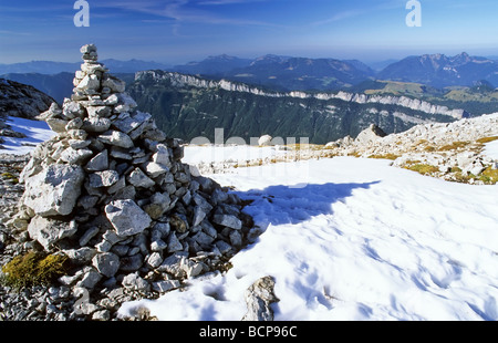 stone pyramid at grosser hinterhorn loferer mountains austria - Stock Photo