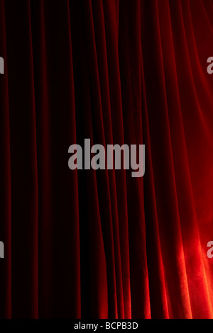 closC up of red velvet curtains - Stock Photo