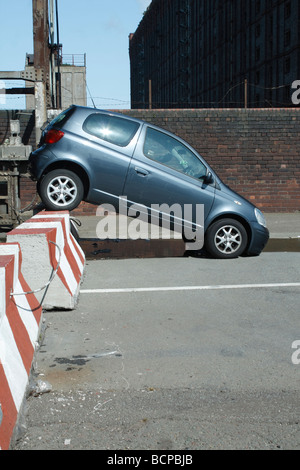 stolen car  by stanley dock  liverpool - Stock Photo