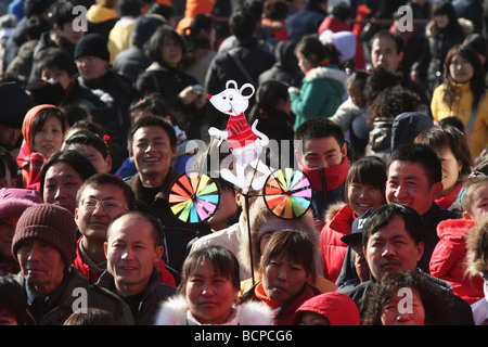 Crowds at Ditan Temple Fair, Beijing, China - Stock Photo