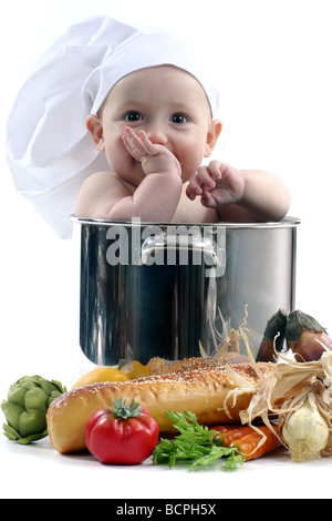 Baby in a Chef Pot on White Background Image is Soft - Stock Photo