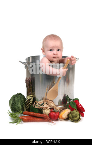 Cute Baby Infant Boy in a Chef Pot Prop on White Background - Stock Photo