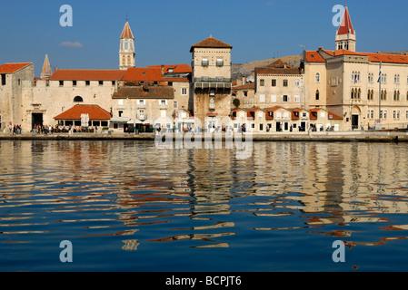 Riva seafront of Trogir on Dalmatian Coast of Croatia - Stock Photo