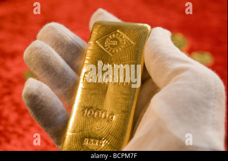 Ein Ögussa Feingoldbarren Gold Bar - Stock Photo