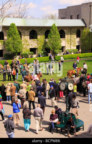 Spectators watch thoroughbreds walk through the paddock prior to a race Keeneland Race Course Lexington Kentucky - Stock Photo