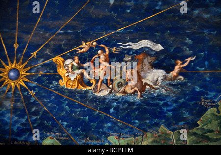 Rome Italy Vatican Museum Close Up Of An Ancient Map Of The World Shipping - Stock Photo