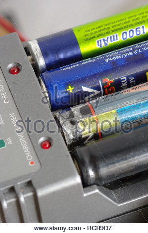 Battery batteries rechargeable AA LR6 NiCad Nimh ni-cad li-ion - Stock Photo