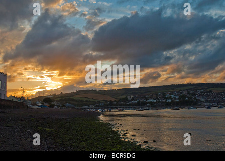 Lowtide on the River Teign at sunset - Stock Photo