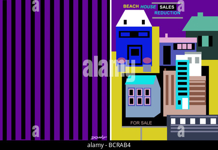 Beach house sales, 2008, Diana Ong (b.1940/Chinese-American) Computer Graphics - Stock Photo