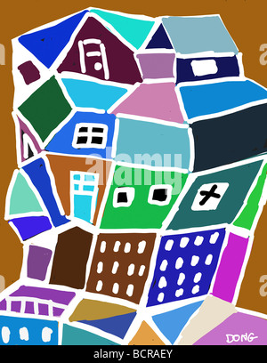 Housing crunch, 2007, Diana Ong (b.1940/Chinese-American) Computer Graphics - Stock Photo