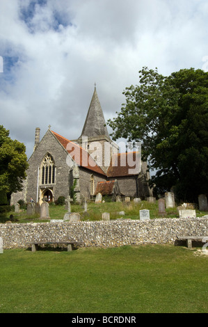 The 14th century village church in Alfriston. It is the Parish Church of St Andrews East Sussex UK - Stock Photo